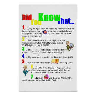 What do you know about pi? poster