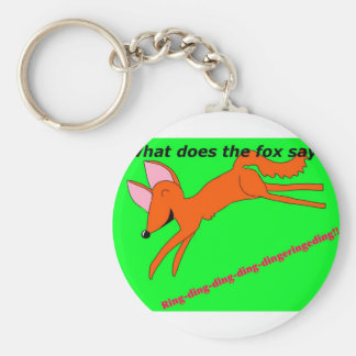 What does the fox say? basic round button keychain