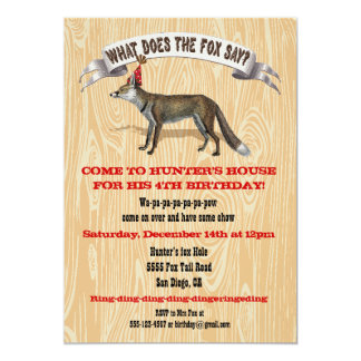 "What does the fox say Birthday party invitation 5"" X 7"" Invitation Card"