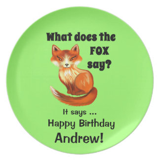 What Does the Fox Say Clothing and Gifts Melamine Plate