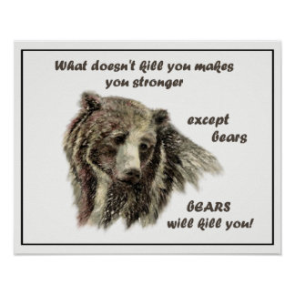 What Doesn't Kill you Except Bears De-Motivational Poster