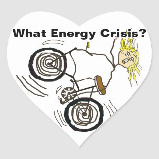 What Energy Crisis? Ride a Bike! Heart Sticker