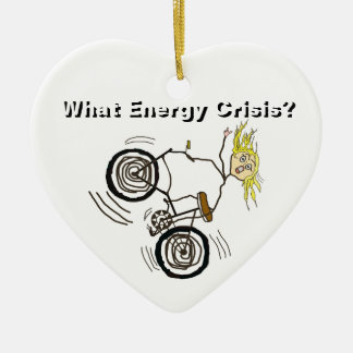 What Energy Crisis? Ride a Bike! Double-Sided Heart Ceramic Christmas Ornament
