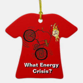 What Energy Crisis? Ride a Bike! Double-Sided T-Shirt Ceramic Christmas Ornament