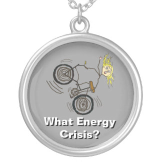 What Energy Crisis? Ride a Bike! Round Pendant Necklace