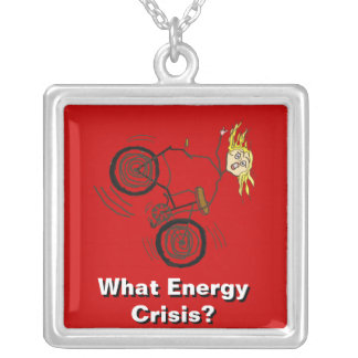 What Energy Crisis? Ride a Bike! Square Pendant Necklace