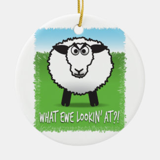 What ewe lookin' at?! ceramic ornament