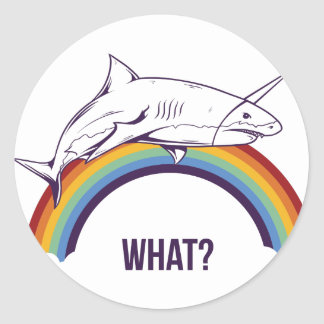 what, fish cool graphic design classic round sticker