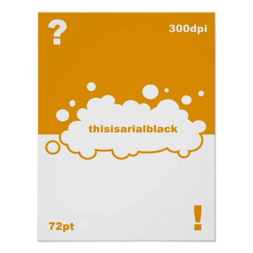 What font? 72 point Arial Black Poster