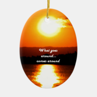What Goes Around Double-Sided Oval Ceramic Christmas Ornament