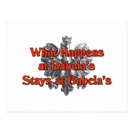 What happens at Babcia's Stays at Babcia's Postcard
