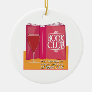 What Happens At Book Club Double-Sided Ceramic Round Christmas Ornament