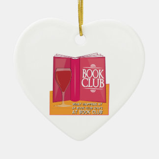 What Happens At Book Club Double-Sided Heart Ceramic Christmas Ornament