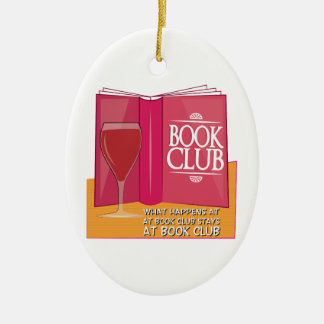 What Happens At Book Club Double-Sided Oval Ceramic Christmas Ornament