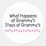 What Happens At Grammys with Pink Handprints Round Sticker