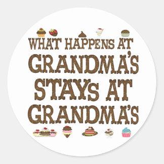 What happens at Grandmas Classic Round Sticker