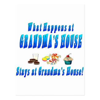 What Happens At Grandmas House Blue Post Card