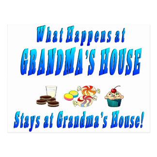 What Happens At Grandmas House Blue Postcard