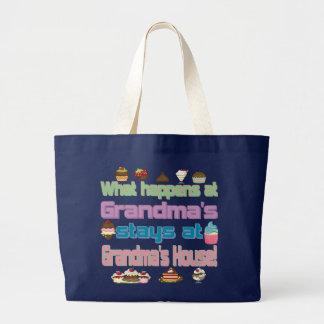 What happens at Grandmas Large Tote Bag