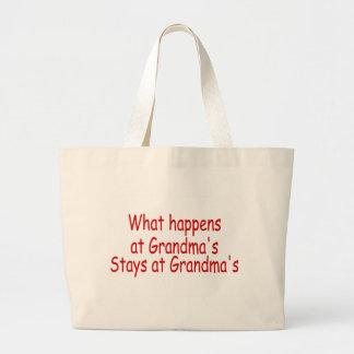 What Happens At Grandmas Stays At Grandmas Jumbo Tote Bag