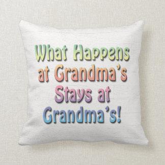 What Happens at Grandma's Stays at Grandma's Funny Throw Pillow
