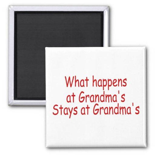What Happens At Grandma's Stays At Grandma's 2 Inch Square Magnet