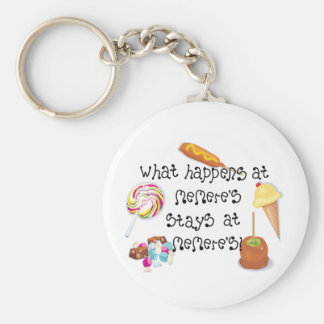 What Happens at Memere's STAYS at Memere&apos Basic Round Button Keychain