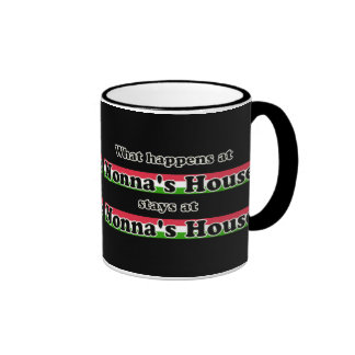 What Happens At Nonnas House Black Background Ringer Coffee Mug