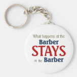 What happens at the barber stays at the barber basic round button keychain