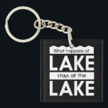 "What Happens at the Lake Stays at the Lake Keychain<br><div class=""desc"">-What Happens at the Lake Stays at the Lake.  Unless you're an un-killable knife-wielding masked maniac with 10 movie sequels,  that is.</div>"