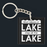 """What Happens at the Lake Stays at the Lake Keychain<br><div class=""""desc"""">-What Happens at the Lake Stays at the Lake.  Unless you're an un-killable knife-wielding masked maniac with 10 movie sequels,  that is.</div>"""