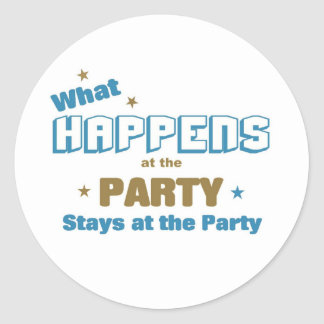 What happens at the party classic round sticker