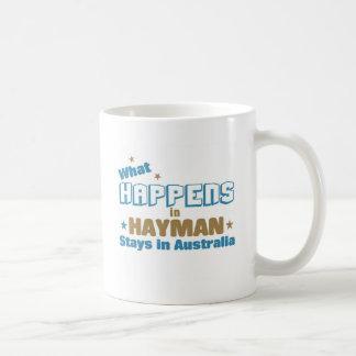 What happens in Hayman Classic White Coffee Mug