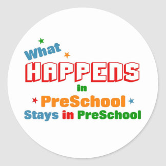 What happens in preschool round sticker