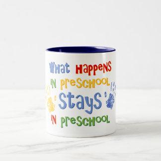What Happens In Preschool Two-Tone Coffee Mug