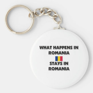 What Happens In ROMANIA Stays There Basic Round Button Keychain
