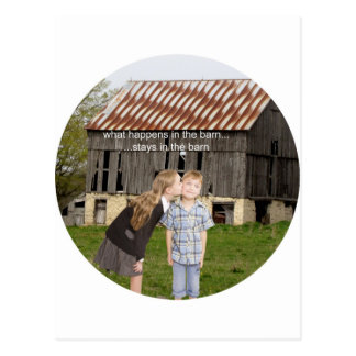 what happens in the barn stays in the barn postcard