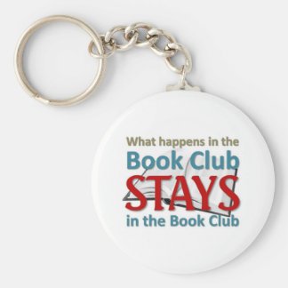 What happens in the book club basic round button keychain