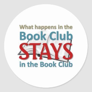 What happens in the book club classic round sticker