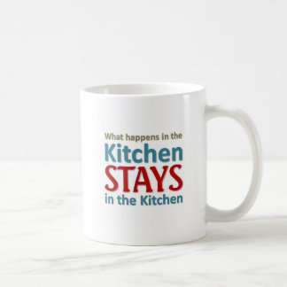 What happens in the kitchen coffee mugs