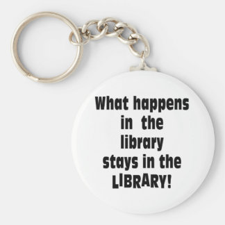 What Happens in the Library Basic Round Button Keychain