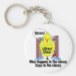 What Happens In The Library... Basic Round Button Keychain