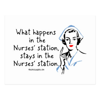 What Happens in the Nurses Station Postcard