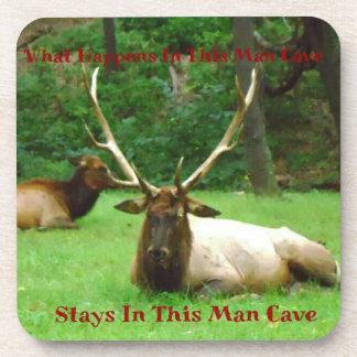 """What Happens in This Man Cave.."" Elk Stud Coaster"