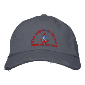 What happens on the boat blue star anchor embroidered baseball hat