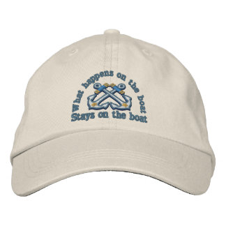 What happens on the boat ... crossed anchors embroidered baseball cap