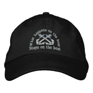 What happens on the boat ... crossed anchors embroidered baseball hat
