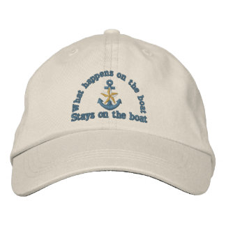 What happens on the boat humor golden star anchor embroidered baseball cap