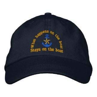 What happens on the boat humor star anchor embroidered baseball hat