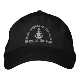 What happens on the boat silver star anchor embroidered baseball hat